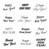 Happy New Year greetings vector overlay set. Hand lettering collection of various fonts, black and white text on white background Royalty Free Stock Images