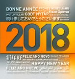Happy new year greetings from the world. Happy new year vintage greetings card from the world in different languages vector illustration