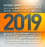 2019 Happy new year greetings from the world. 2019 Happy new year vintage greetings card from the world in different languages vector illustration