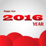 Happy New 2016 year. On grey background with red cloudy circles Royalty Free Stock Photos