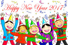 Happy New Year 2017 Group Children Smile Holiday Celebration Dra Royalty Free Stock Photo