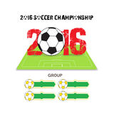 Happy new year 2016 group with soccer ball Stock Photos