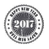 Happy New Year 2017 grunge rubber stamp. Happy New Year 2017 grunge b/w rubber stamp Stock Images