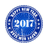 Happy New Year 2017 grunge rubber stamp. Happy New Year 2017 grunge blue rubber stamp Royalty Free Stock Image