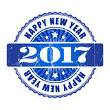 Happy New Year 2017 grunge rubber stamp. Happy New Year 2017 grunge blue rubber stamp Royalty Free Stock Photo