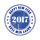 Happy New Year 2017 grunge rubber stamp. Happy New Year 2017 grunge blue rubber stamp Stock Photo