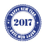 Happy New Year 2017 grunge rubber stamp. Happy New Year 2017 grunge blue rubber stamp Stock Image