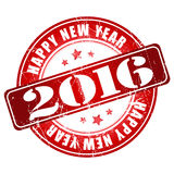 Happy New Year 2016 grunge stamp. Royalty Free Stock Photography