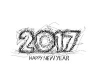 Happy new year 2017 Grunge Text Design. For Flyers and Greetings Card. Vector illustration Royalty Free Stock Image