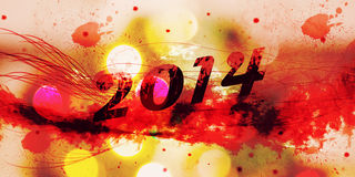 Happy New Year 2014 with grunge text. Happy New Year 2014 illustration with grunge text, lines, splashes and lights Stock Photo