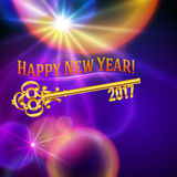 Happy new year 2017h gold vintage key Stock Images