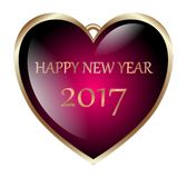 Happy new year haert 2017 isolated Royalty Free Stock Images