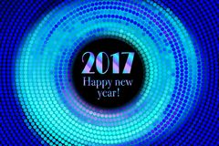 Happy new year 2017 halftone banner. Happy new year 2017 and colorful polka dots in star pattern on white background. Vector illustration Royalty Free Stock Photo