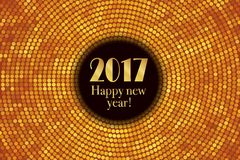 Happy new year 2017 halftone banner. Happy new year 2017 and colorful polka dots in star pattern on white background. Vector illustration Royalty Free Stock Photography