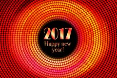 Happy new year 2017 halftone banner. Happy new year 2017 and colorful polka dots in star pattern on white background. Vector illustration Royalty Free Stock Photos