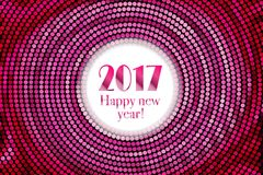 Happy new year 2017 halftone banner. Happy new year 2017 and colorful polka dots in star pattern on white background. Vector illustration Stock Image