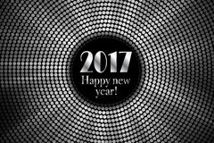 Happy new year 2017 halftone banner. Happy new year 2017 and colorful polka dots in star pattern on white background. Vector illustration Stock Images