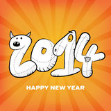 Happy new year hand drawing card poster Stock Images