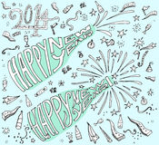 Happy New Year hand drawn doodle style. Traditional festive elements and decorations, blue background royalty free illustration