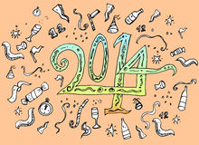 Happy New Year hand drawn doodle style. Traditional festive elements and decorations, blue background vector illustration