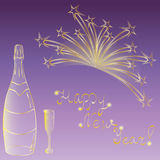 Happy New Year! Hand Drawn Golden Silhouettes of Bottle of Champagne, Wineglass and Firework. Perfect for Your Festive Design. Vector Illustration Stock Photo