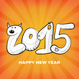 Happy new year 2015 hand drawn greeting card poster Royalty Free Stock Photos