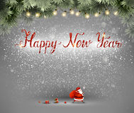 Happy New Year hand drawn inscription and Santa Claus with bag and gifts on the gray background. Royalty Free Stock Image