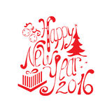 Happy New Year 2016. Hand drawn lettering stock illustration