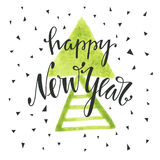 Happy new year hand drawn lettering. Holiday vector illustration with lettering composition. Happy new year 2017 card. Modern typography. Background for flyer Stock Photography