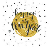 Happy new year hand drawn lettering. Holiday vector illustration with lettering composition. Happy new year 2017 card. Modern typography. Background for flyer Royalty Free Stock Photos