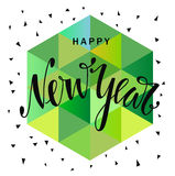 Happy new year hand drawn lettering. Holiday vector illustration with lettering composition. Happy new year 2017 card. Modern typography. Background for flyer Stock Photo
