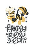 Happy new year. Hand drawn lettering quote. Vector illustration. royalty free illustration