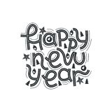 Happy new year. Hand drawn lettering quote. Vector illustration. stock illustration