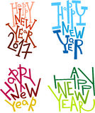 Happy New Year hand drawn lettering stickers, winter decorations, photo overlays, posters, invitations in different trendy colors Royalty Free Stock Images
