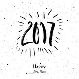 Happy New Year 2017. Hand Drawn lettering. Vector illustration, greeting card. Hand Drawn lettering happy new year 2017 Royalty Free Stock Photos