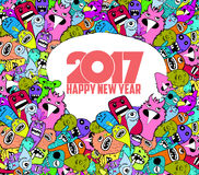 Happy new year 2017. Hand Drawn Monsters and cute doodle Style.  stock illustration