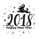 Happy new year 2018 hand drawn numbers graphic with jumping cartoon dog silhouette Stock Image