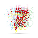 Happy new year hand drawn text design. Vector illustration royalty free illustration
