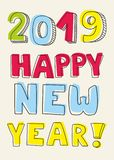 Happy New Year 2019 hand drawn vector sign. Happy New Year 2019 hand drawn vector colorful sign vector illustration