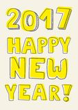 Happy New Year 2017 hand drawn yellow vector sign. On pastel background stock illustration
