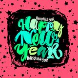 Happy New Year hand lettering banner. Royalty Free Stock Image