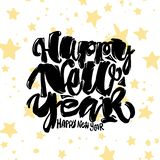 Happy New Year hand lettering banner. Royalty Free Stock Photo