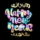 Happy New Year hand lettering banner. Stock Photos