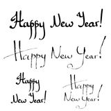 Happy New Year hand lettering calligraphy Stock Photos