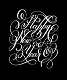 Happy New Year hand lettering congratulate inscription Stock Photography