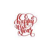 Happy New Year hand lettering congratulate red inscription Stock Images