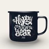 Happy New Year, hand lettering on cup. Happy New Year, hand lettering on cup vector illustration