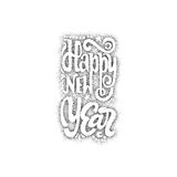 Happy new year 2017 hand-lettering dotwork text . Handmade vector calligraphy for your design Royalty Free Stock Photography