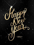 Happy New Year hand lettering. Happy New Year golden hand lettering with starry night background Royalty Free Stock Image