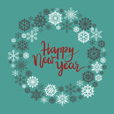 Happy New Year hand lettering greeting card. Modern calligraphy. Christmas Wreath. Vector Illustration royalty free illustration